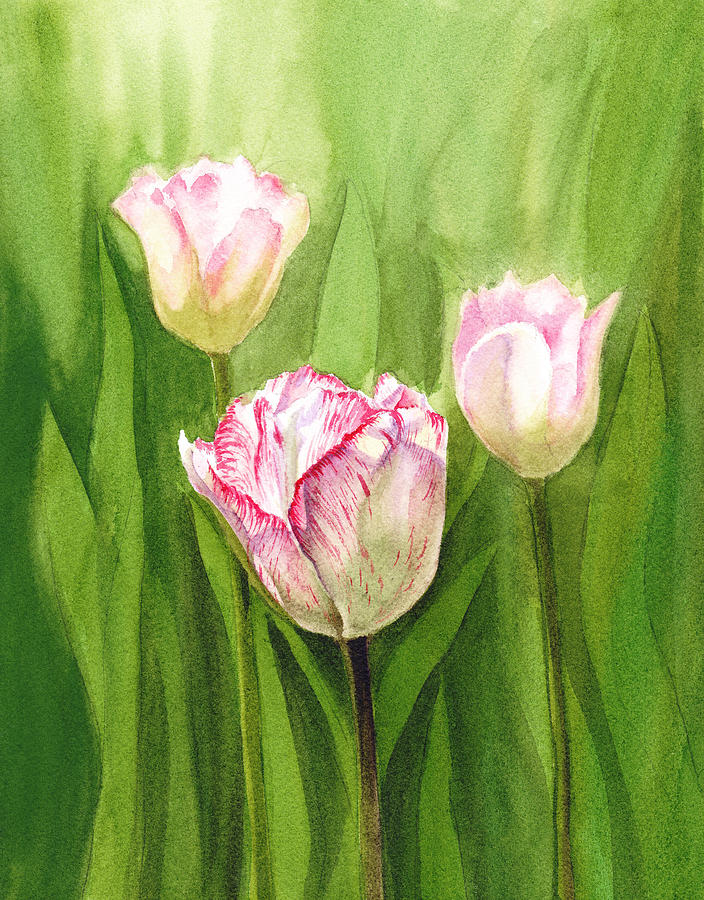 Tulips In The Fog Painting  - Tulips In The Fog Fine Art Print