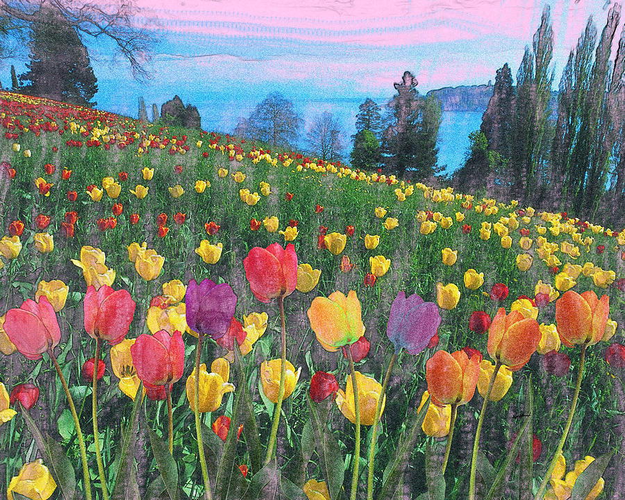 Tulips Lake Painting