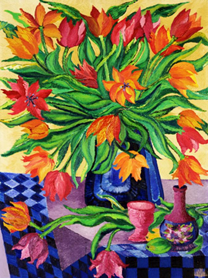 Tulips   Sculptured In Oil    Art Deco Painting