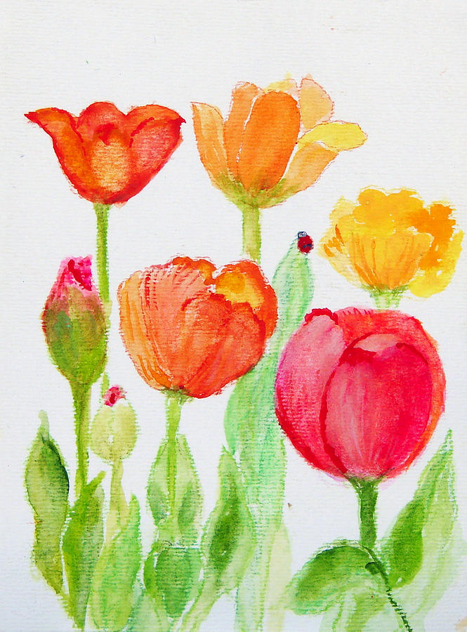 Tulips With Lady Bug Painting  - Tulips With Lady Bug Fine Art Print