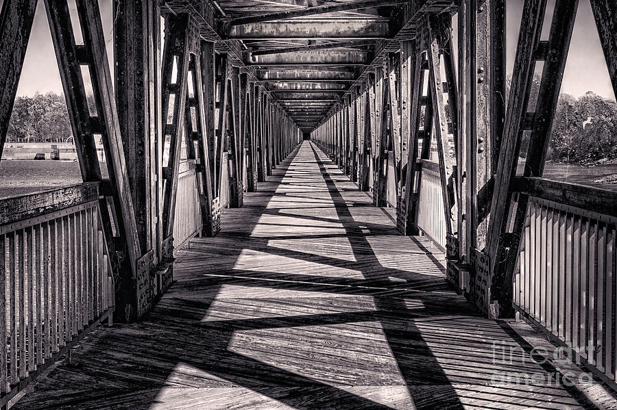 Tulsa Pedestrian Bridge In Black And White Photograph