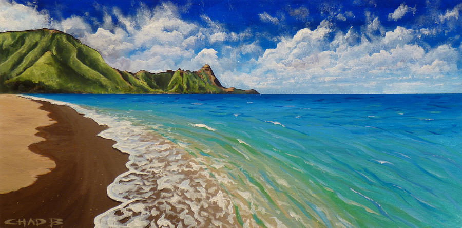 Tunnels Beach Painting  - Tunnels Beach Fine Art Print