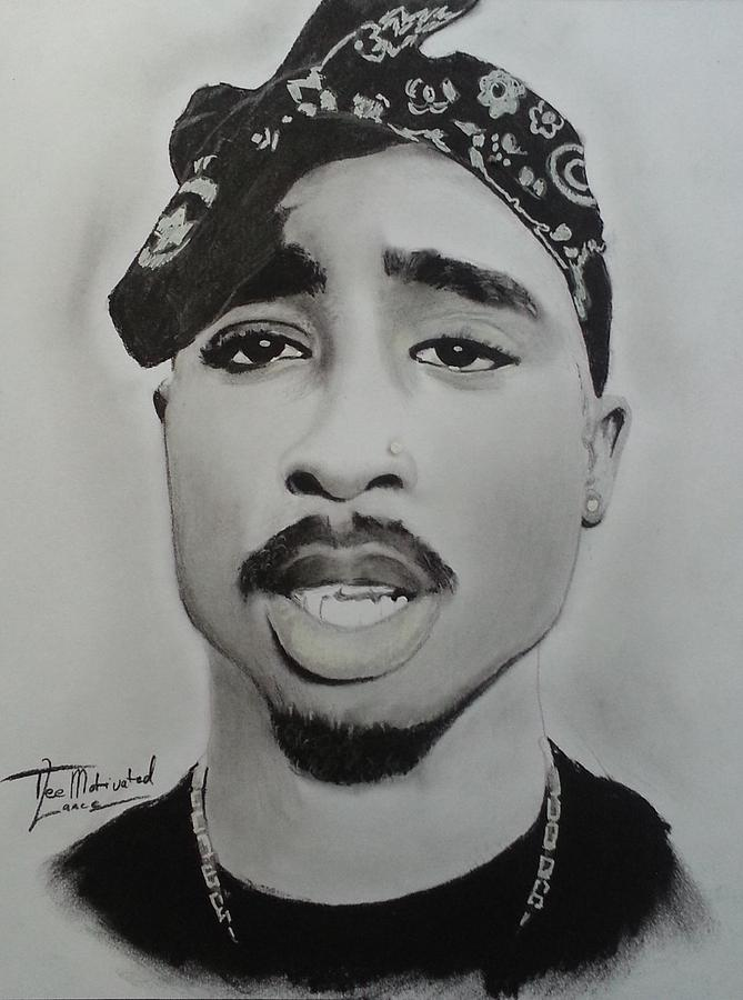 Tupac Charcoal Drawing Drawing by Lance Freeman