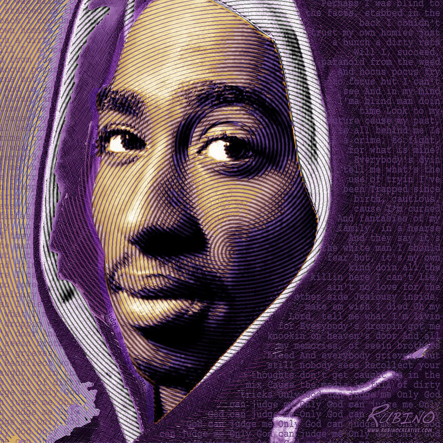 Tupac Shakur And Lyrics Painting  - Tupac Shakur And Lyrics Fine Art Print