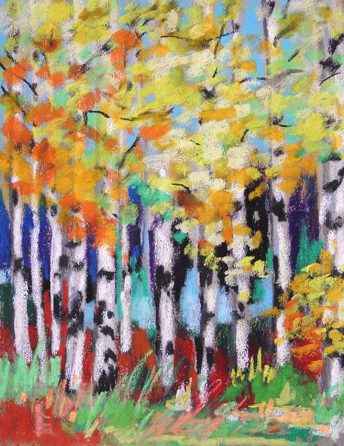 Turning Birches Painting