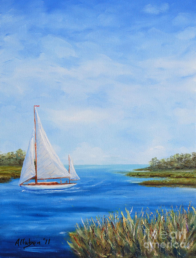 Sailboat Painting Painting - Turning In by Stanton Allaben