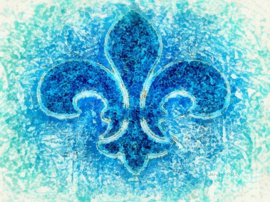 Turquoise Bleu Fleur De Lys Photograph
