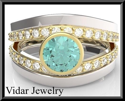 Gemstone Jewelry - Turquoise Tourmaline And Diamond Wedding Ring And Engagement Ring Set by Roi Avidar