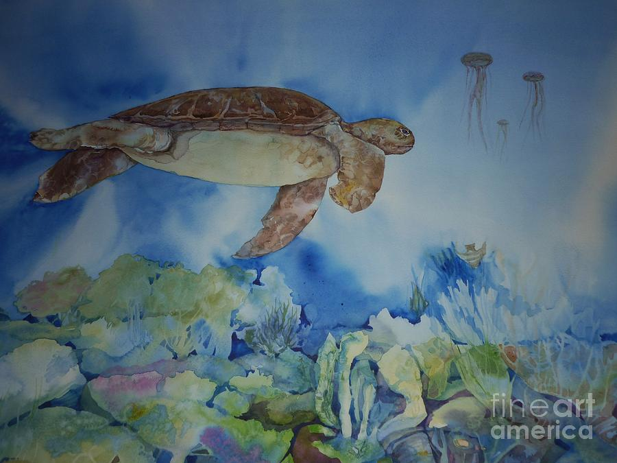 Turtle and jelly fish painting by donna acheson juillet for Turtle fish paint