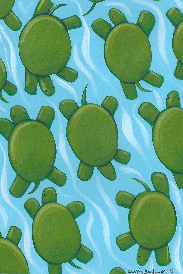 Turtle Painting - Turtle Nursery Art by Christy Beckwith