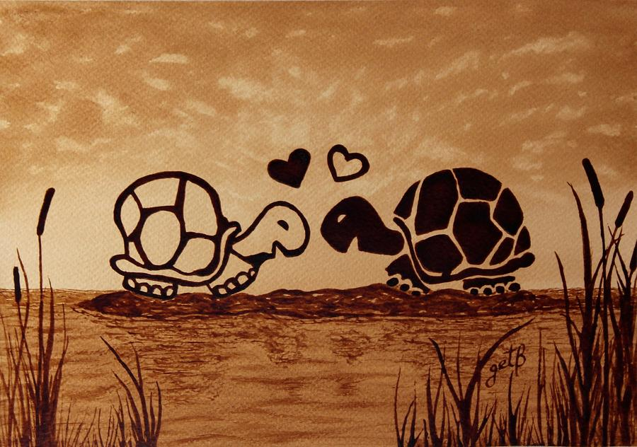 Turtles Love Coffee Painting Painting
