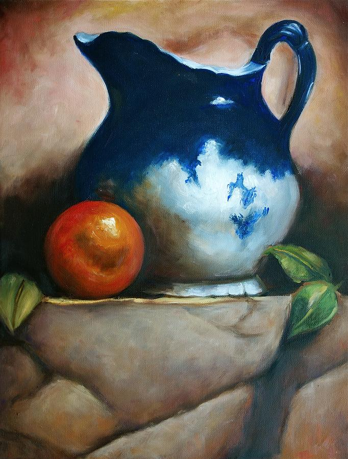 Still Life Painting - Tuscan Blue Pitcher Still Life by Melinda Saminski