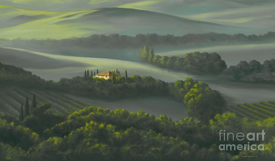 Tuscany Landscape Painting - Tuscan Daybreak by Michael Swanson
