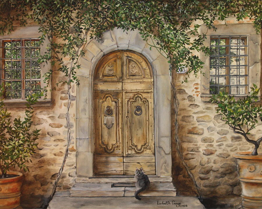 Wine Painting - Tuscan Door by Lizbeth Gage