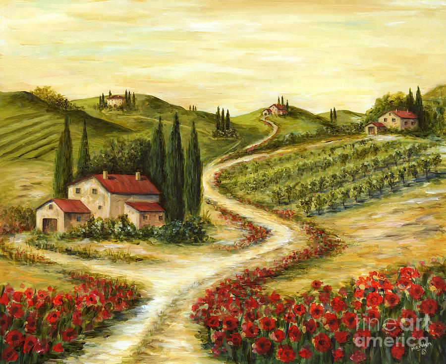 Tuscan Road With Poppies Painting  - Tuscan Road With Poppies Fine Art Print