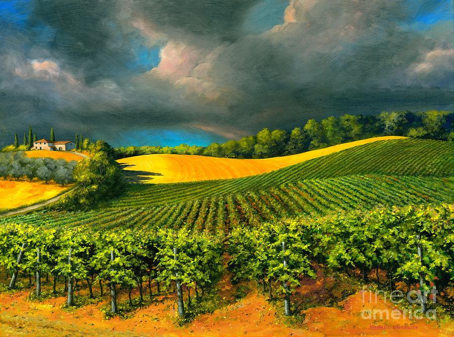 Grape Vine Landscape Painting - Tuscan Storm by Michael Swanson