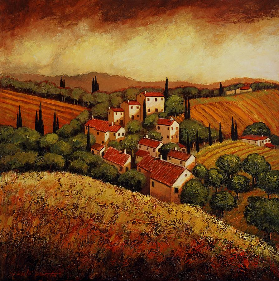 Oil Painting Toscan Village