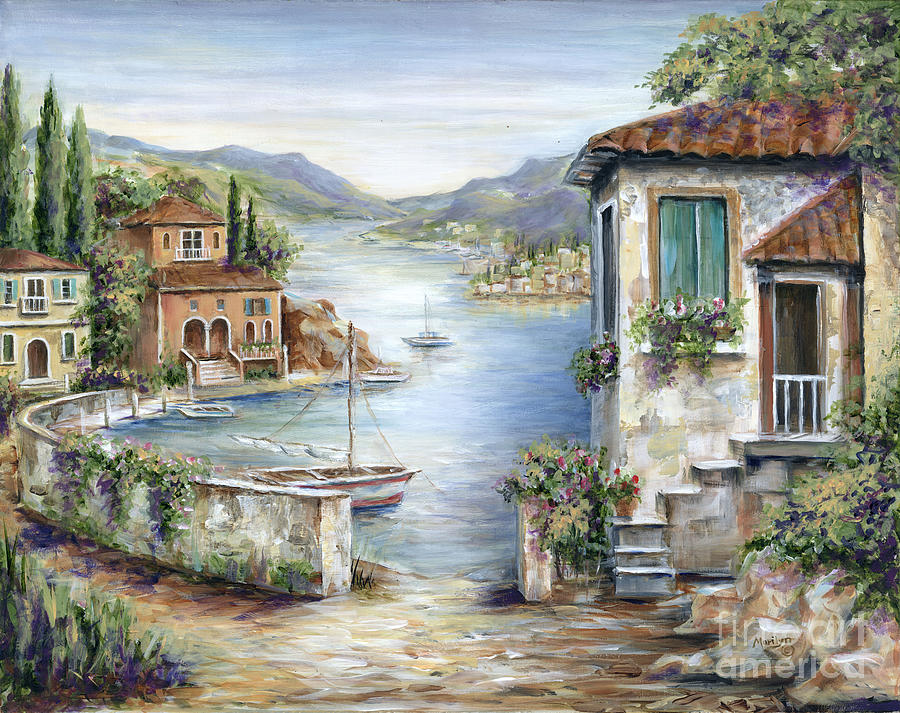 Tuscan villas by the lake painting by marilyn dunlap for Tuscany villas
