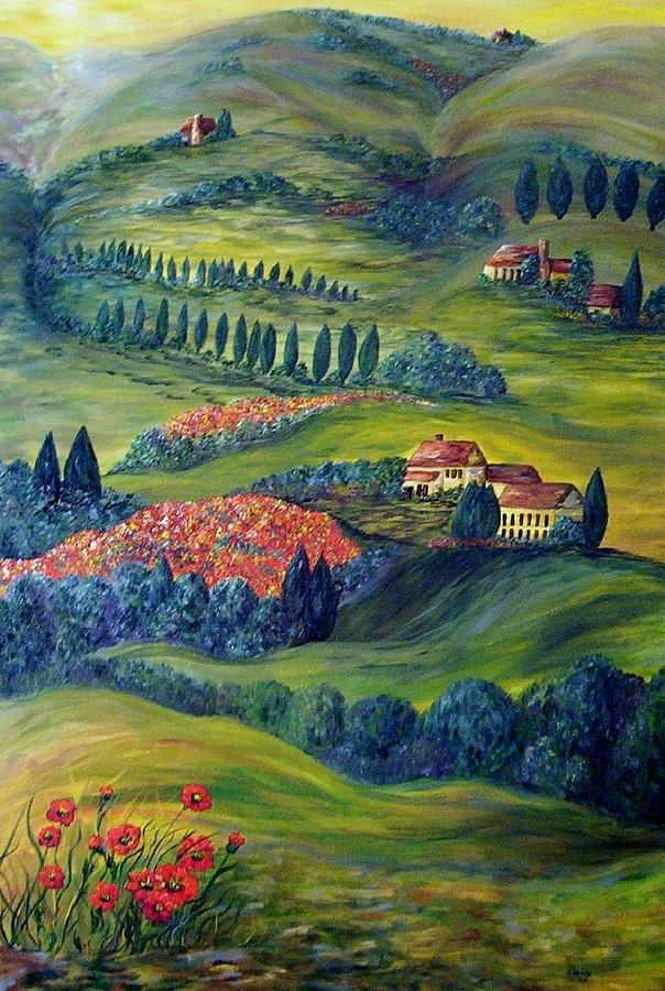 Tuscany At Dawn Painting
