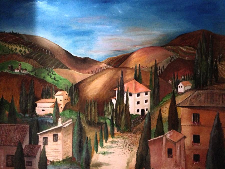 Landscape Of Italian Village Painting - Tuscany by Catherine Visconte