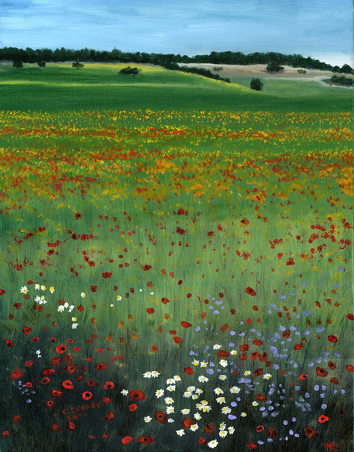 Tuscany Flower Field Painting  - Tuscany Flower Field Fine Art Print