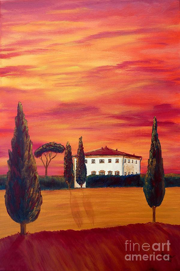 Tuscany In Red Painting  - Tuscany In Red Fine Art Print