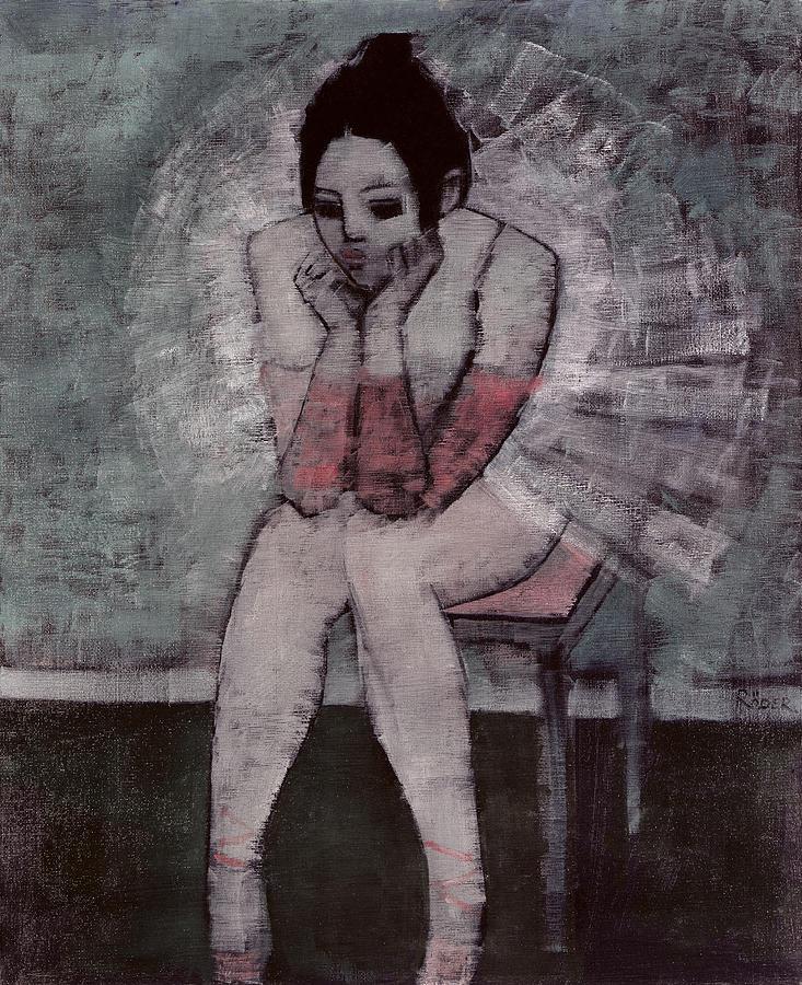 Ballerina; Ballet; Dancer; Seated Painting - Tutu  by Endre Roder