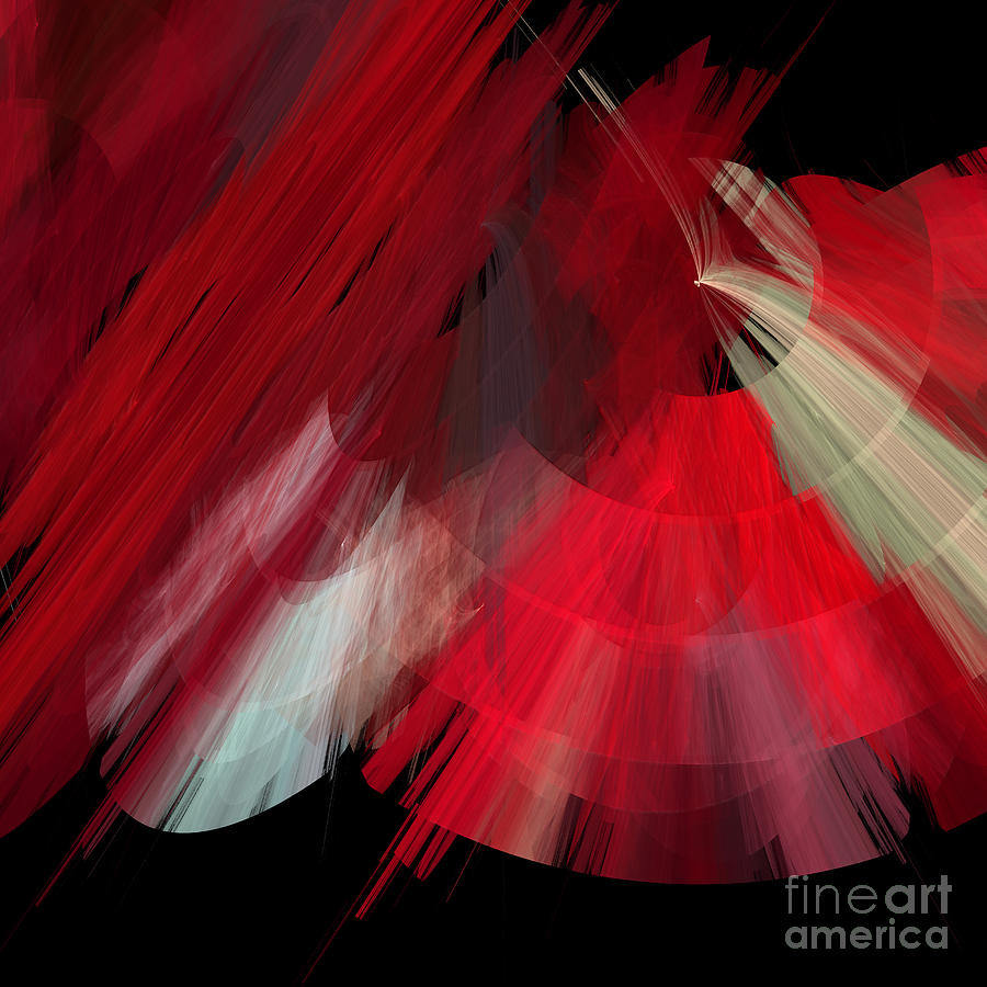 Ballerina Digital Art - Tutu Stage Left Red Abstract by Andee Design