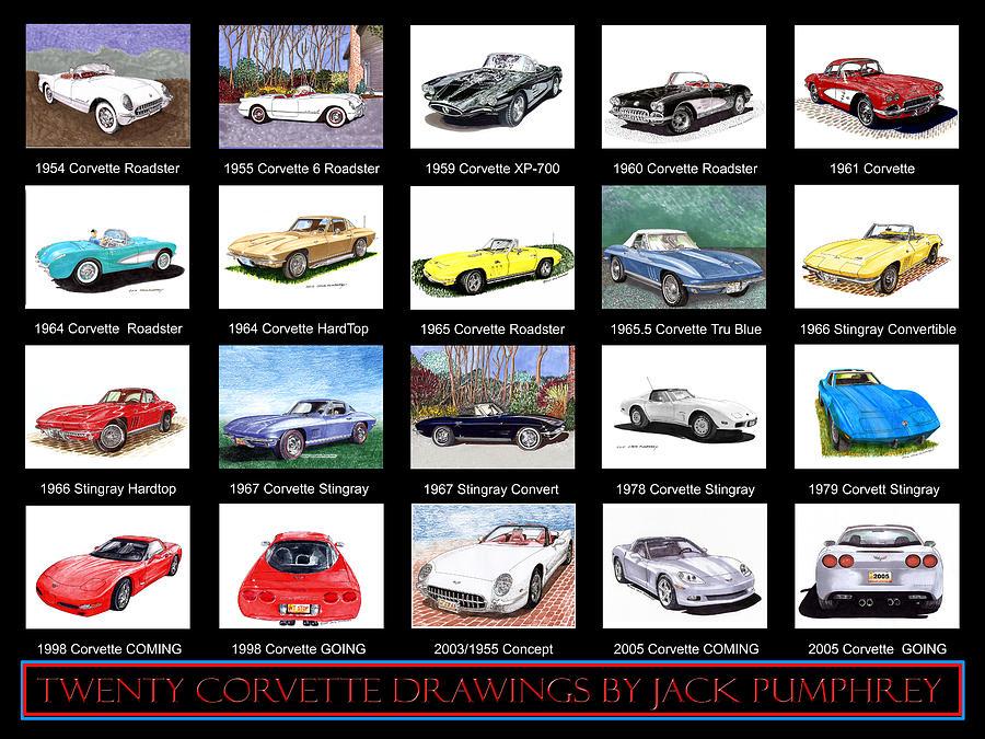 Twenty Corvettes Painting
