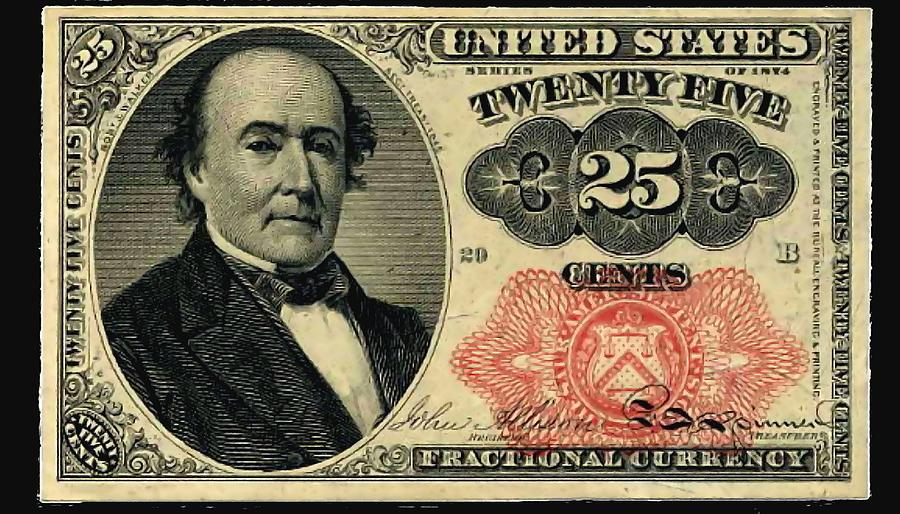 Twenty Five Cents 5th Issue U.s. Fractional Currency Painting