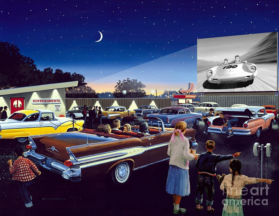 Drive In Theatre Painting - Twenty Minutes To Show Time by Michael Swanson