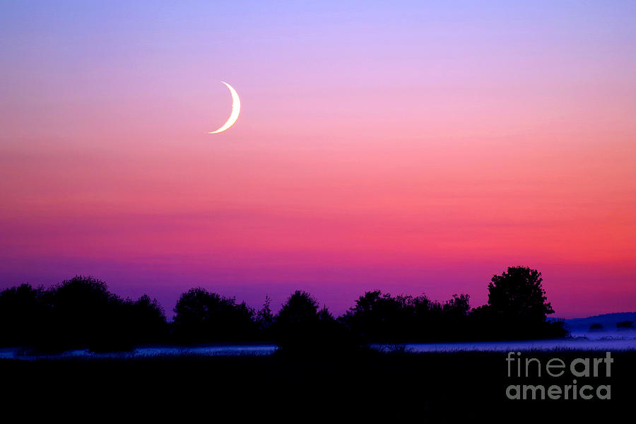 Twilight And Crescent Moon - Lummi Bay Photograph