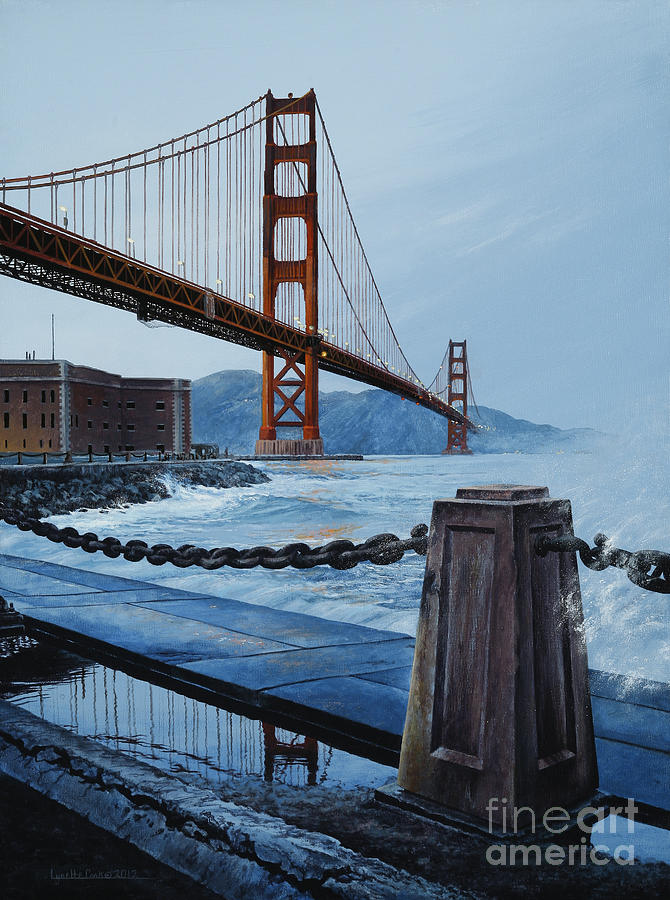 Lynette Cook Painting - Twilight At The Golden Gate by Lynette Cook