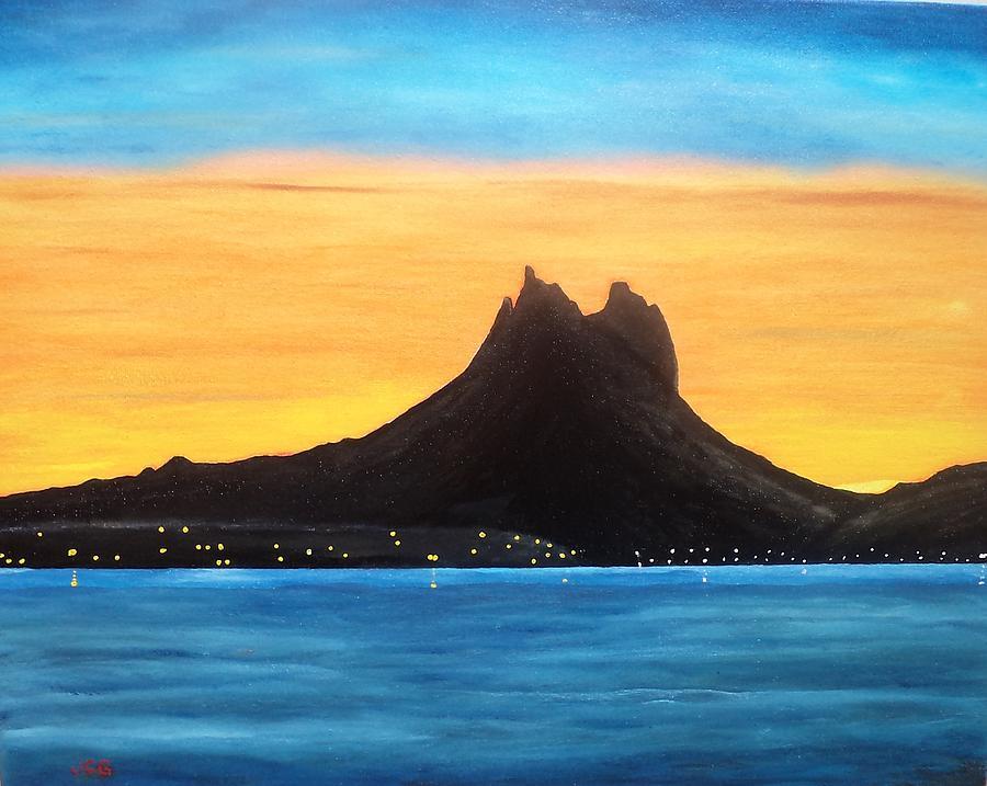 Seascape Painting - Twilight On San Carlos Sonora by Jorge Cristopulos