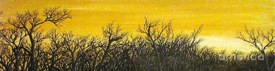 Black Trees Silhouetted Against Golden Sunset. Painting - Twilight Partial by Erik Coryell