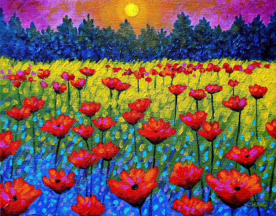 Twilight Poppies Painting