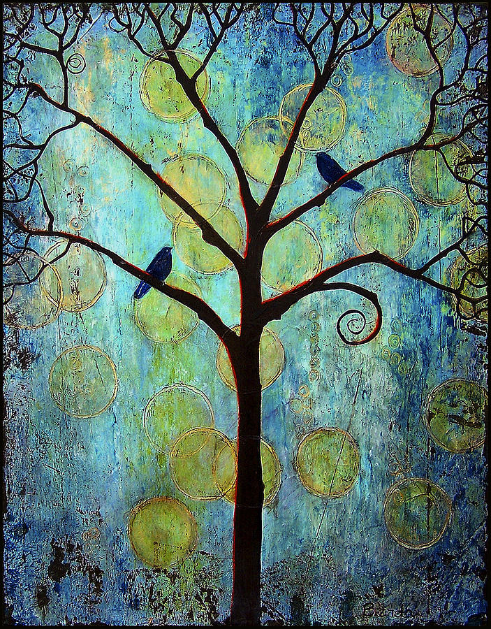 Black Birds Painting - Twilight Tree Of Life by Blenda Studio