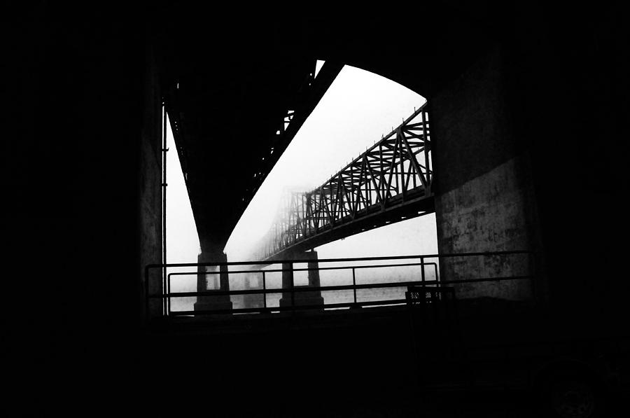 Black/white Photograph Photograph - Twin Bridges by Leon Hollins III