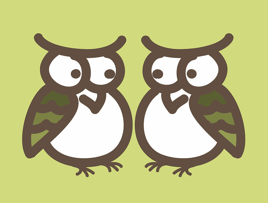 Twin Owl Babies- Nursery Wall Art Digital Art