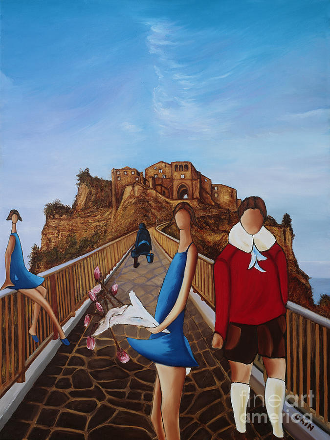 Twins On Bridge Painting  - Twins On Bridge Fine Art Print