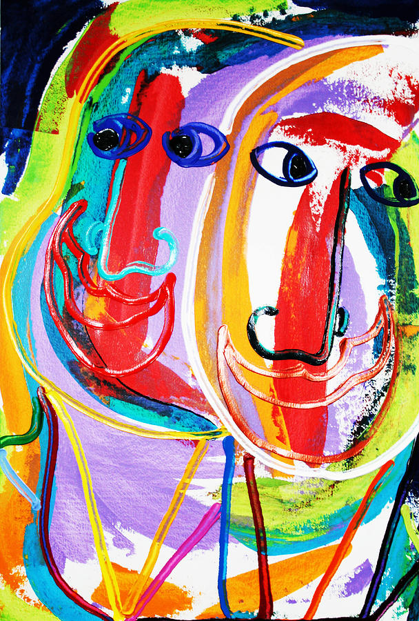 Faces Painting - Two Abstract Faces by Matthew Brzostoski