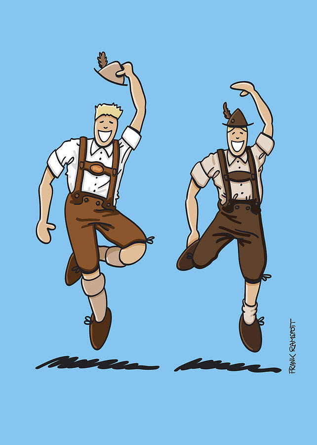 Frank Ramspott Drawing - Two Bavarian Lederhosen Men by Frank Ramspott