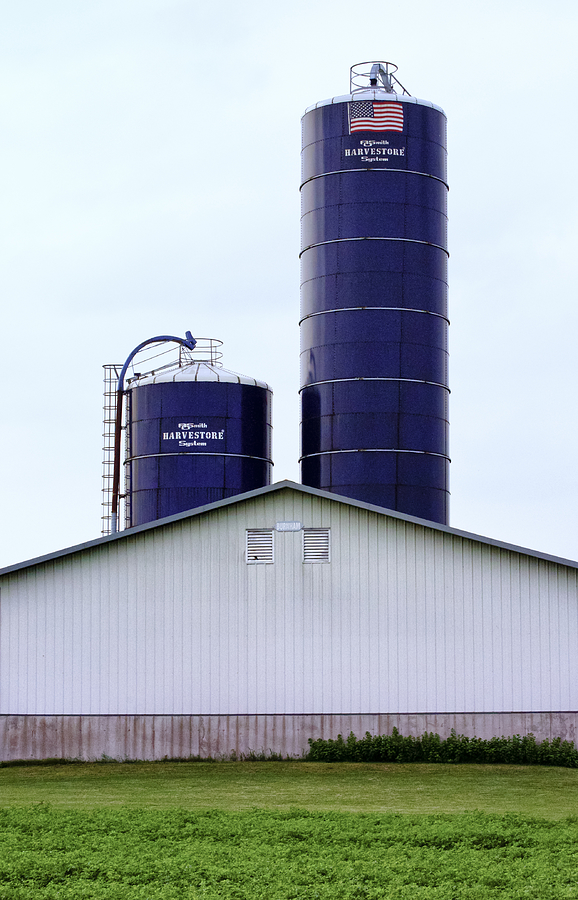 Agriculture Photograph - Two Blue Silos by Christi Kraft