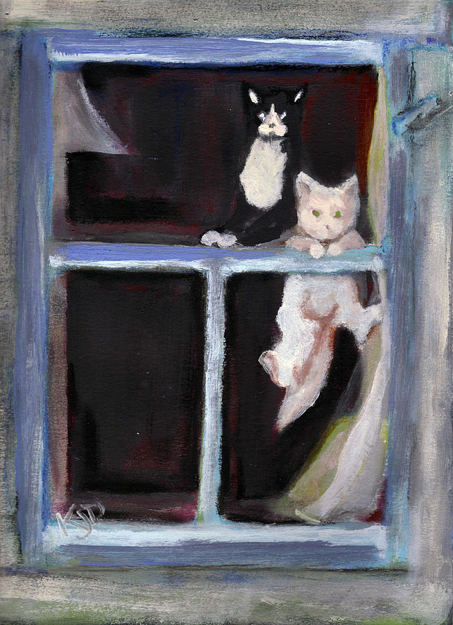 Two Cats Find An Old Window Sill Painting  - Two Cats Find An Old Window Sill Fine Art Print