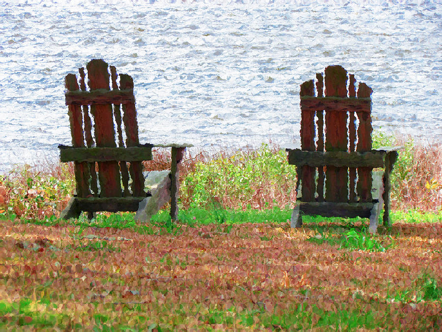Two Chairs Facing The Lake Painting