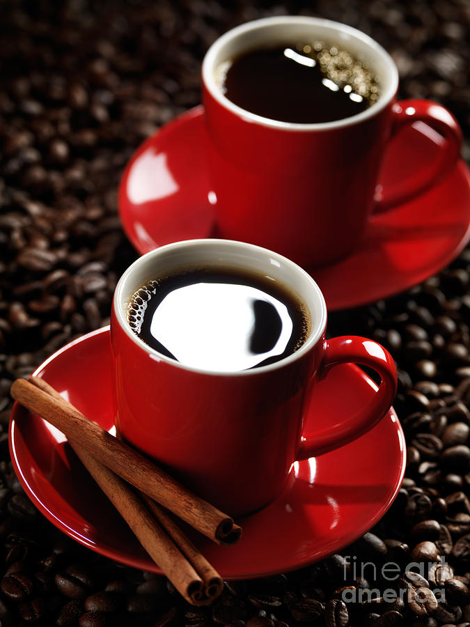 Two Cups Of Coffe On Coffee Beans Photograph
