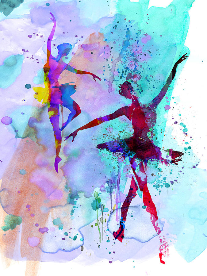 Ballet Painting - Two Dancing Ballerinas Watercolor 2 by Naxart Studio