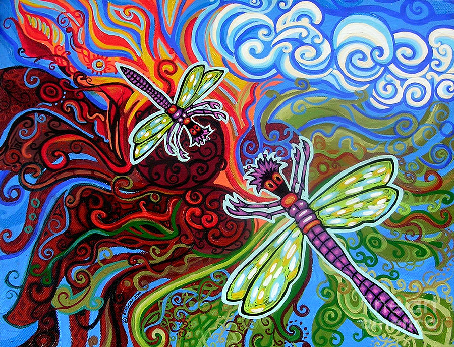 Two Dragonflies Painting  - Two Dragonflies Fine Art Print