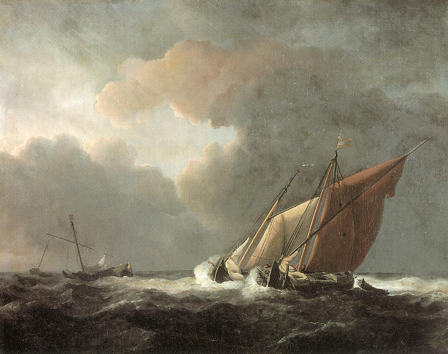 Two Dutch Vessels Close-hauled In A Strong Breeze Painting  - Two Dutch Vessels Close-hauled In A Strong Breeze Fine Art Print