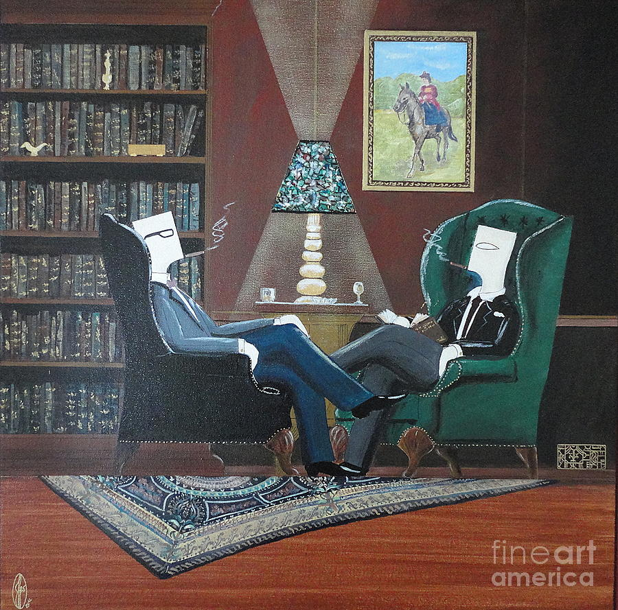 Two Gentlemen Sitting In Wingback Chairs At Private Club Painting